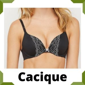 Cacique Smooth Boost Plunge Bra Black 42B